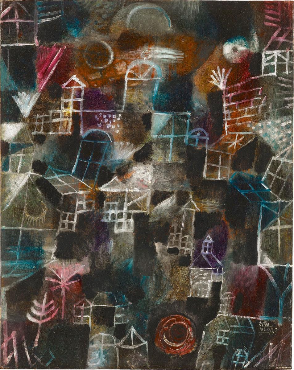 Paul Klee, Rhythmus der Fenster, 1920, Öl auf Karton (auf Holz aufgezogen). 51,5x41,3 cm, Staatsgalerie Stuttgart