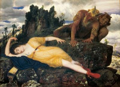 Arnold Böcklin, Schlafende Diana, von zwei Faunen belauscht, 1877