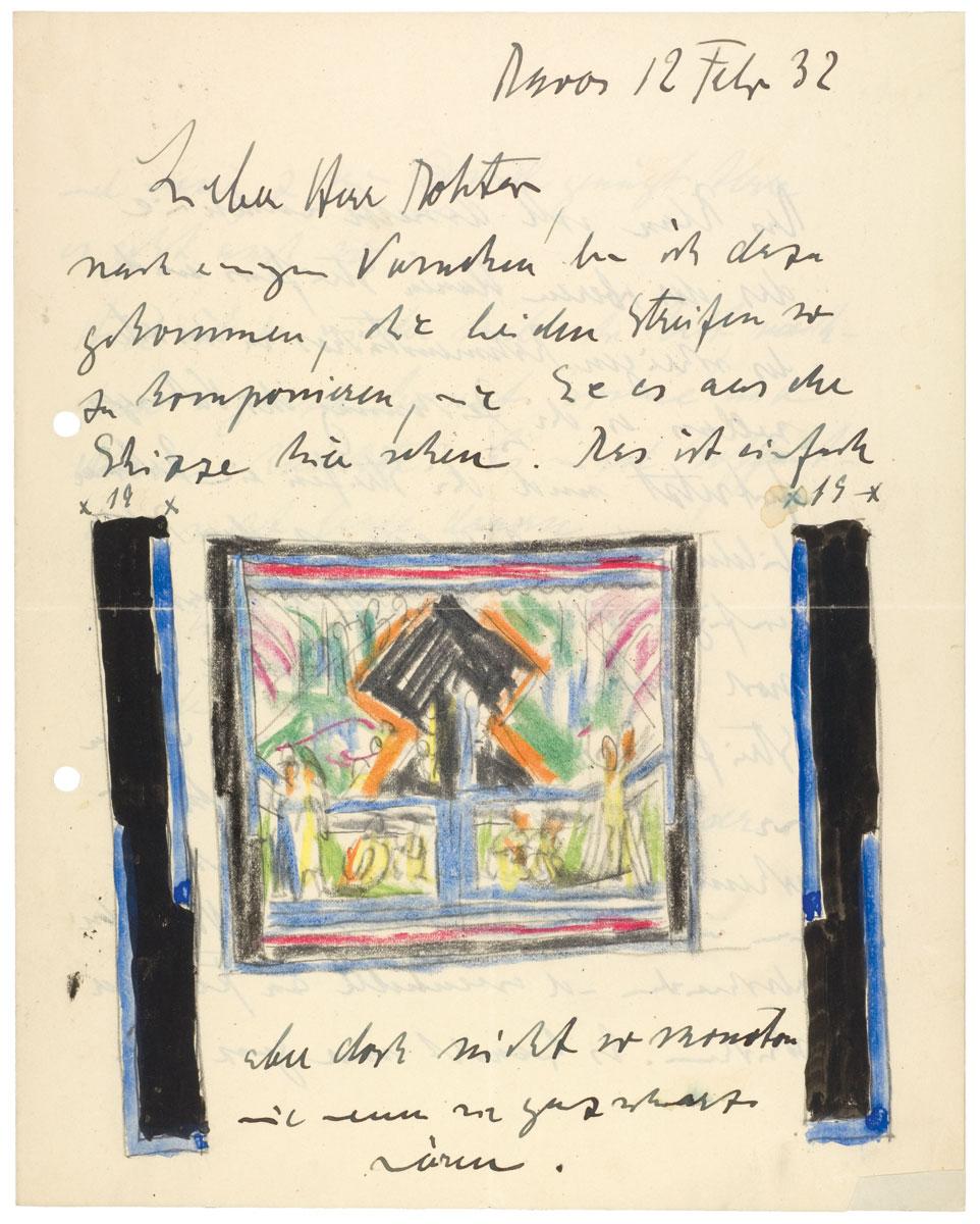 Ernst Ludwig Kirchner, Farbstiftskizze zum Hagemann-Teppich. Aus dem Brief von Ernst Ludwig Kirchner an Carl Hagemann vom 12. Februar 1932