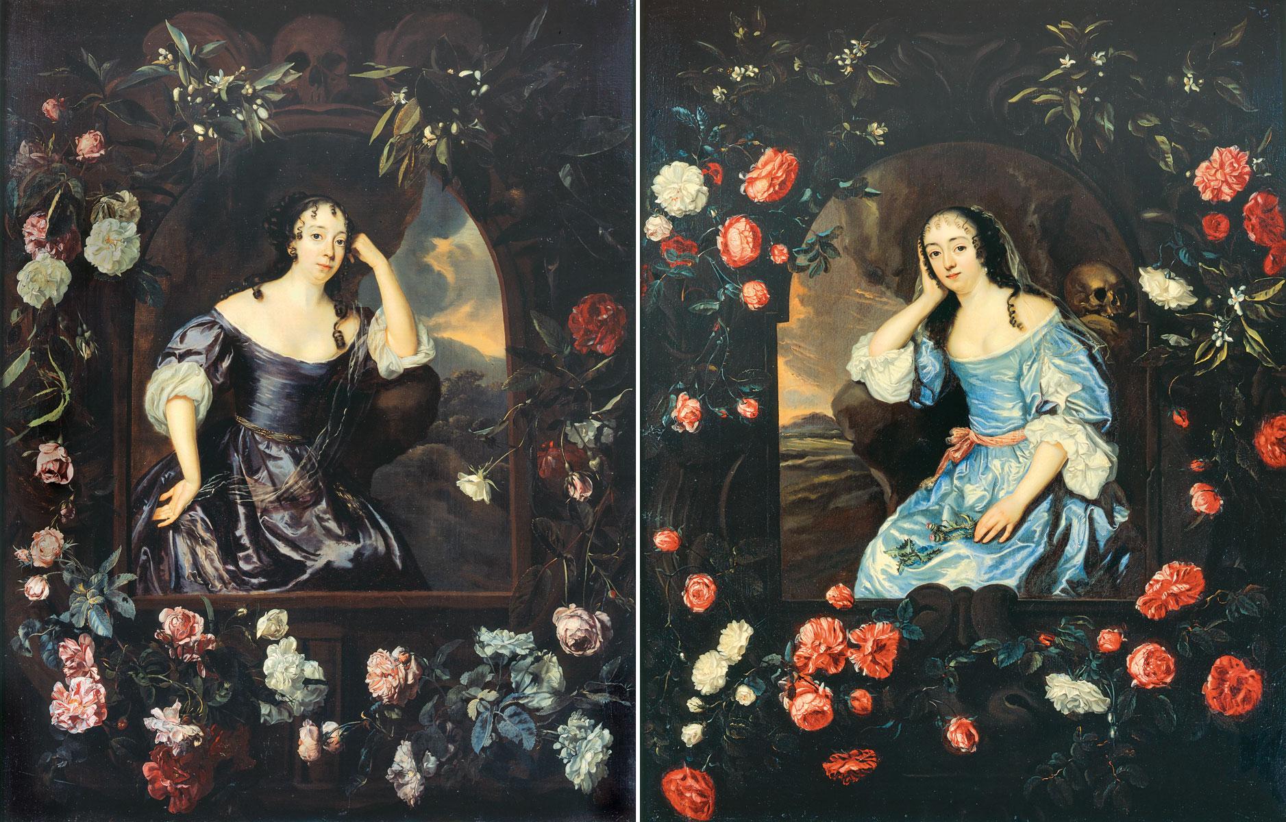 Jan Mijtens, Albertine Agnes von Nassau-Diez und Maria von Simmern im Blütenkranz, um 1665