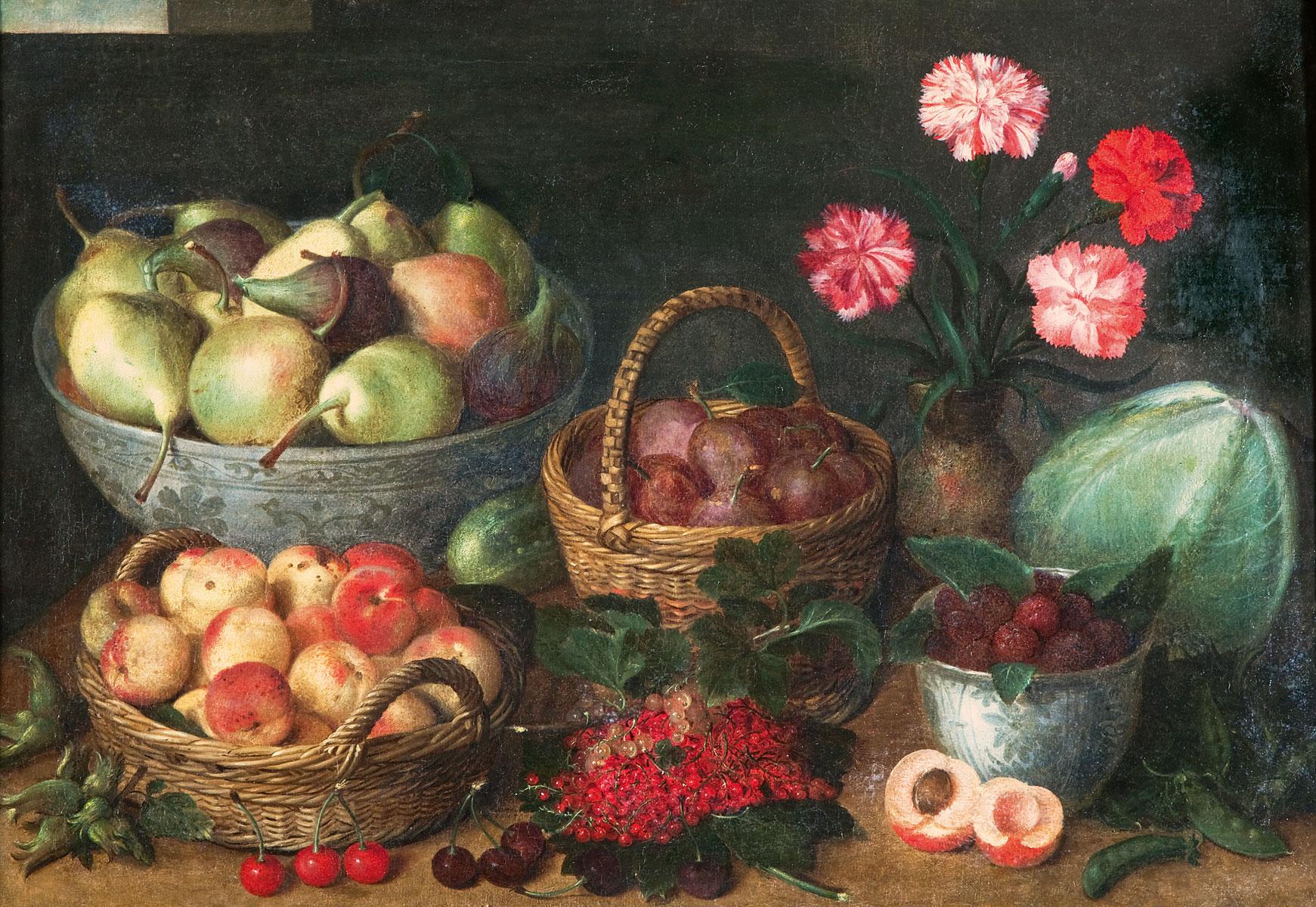 Isaak Soreau, Früchtekörbe, Früchteschale, Porzellankumme, Blumenvase mit Nelken und Gemüse, 1645