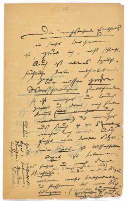 """Groß gedacht, aber nie vollendet: Romanfragment aus Theodor Fontanes Roman """"Allerlei Glück"""", um 1879"""