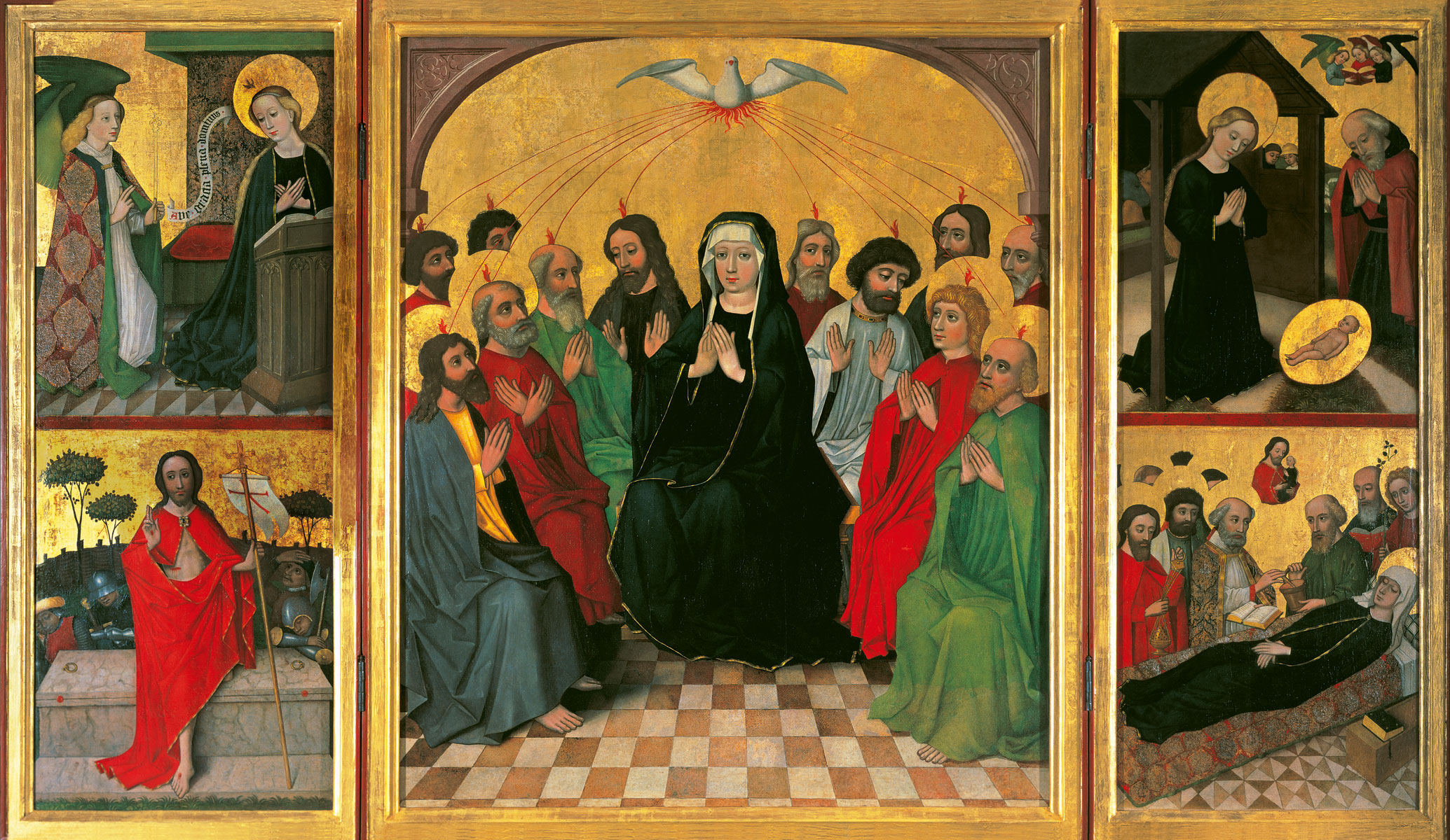 Meister des Wolfgang-Altars (zugeschr.), Marienaltar mit der Darstellung des Pfingstwunders, um 1450, 192 x 330 cm