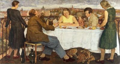 The party is over – gedrückte Stimmung als Vorahnung einer dunklen Zeit? Lotte Laserstein, Abend über Potsdam, 1930, 111×206 cm; Staatliche Museen zu Berlin, Neue Nationalgalerie