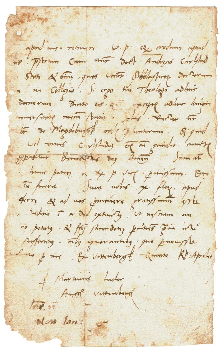 Brief Martin Luthers an Johannes Lang vom 28. März 1517, Stiftung Luthergedenkstätten