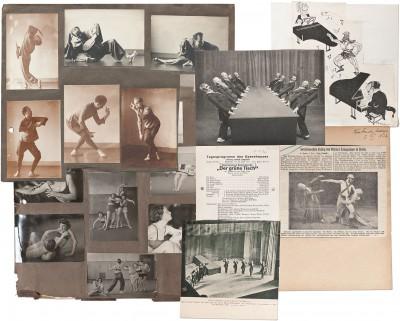 """Collage aus: Impressionen aus dem Programm """"Zwei Tänzer"""" von Kurt Jooss und Sigurd Leeder (links oben); Materialien und Dokumente zum Ballett """"Der Grüne Tisch"""" aus der Stockholmer Kurt Jooss-Sammlung (rechts); Momentaufnahmen aus dem Unterricht an der Folkwangschule, um 1928 (links unten); Deutsches Tanzarchiv Köln"""