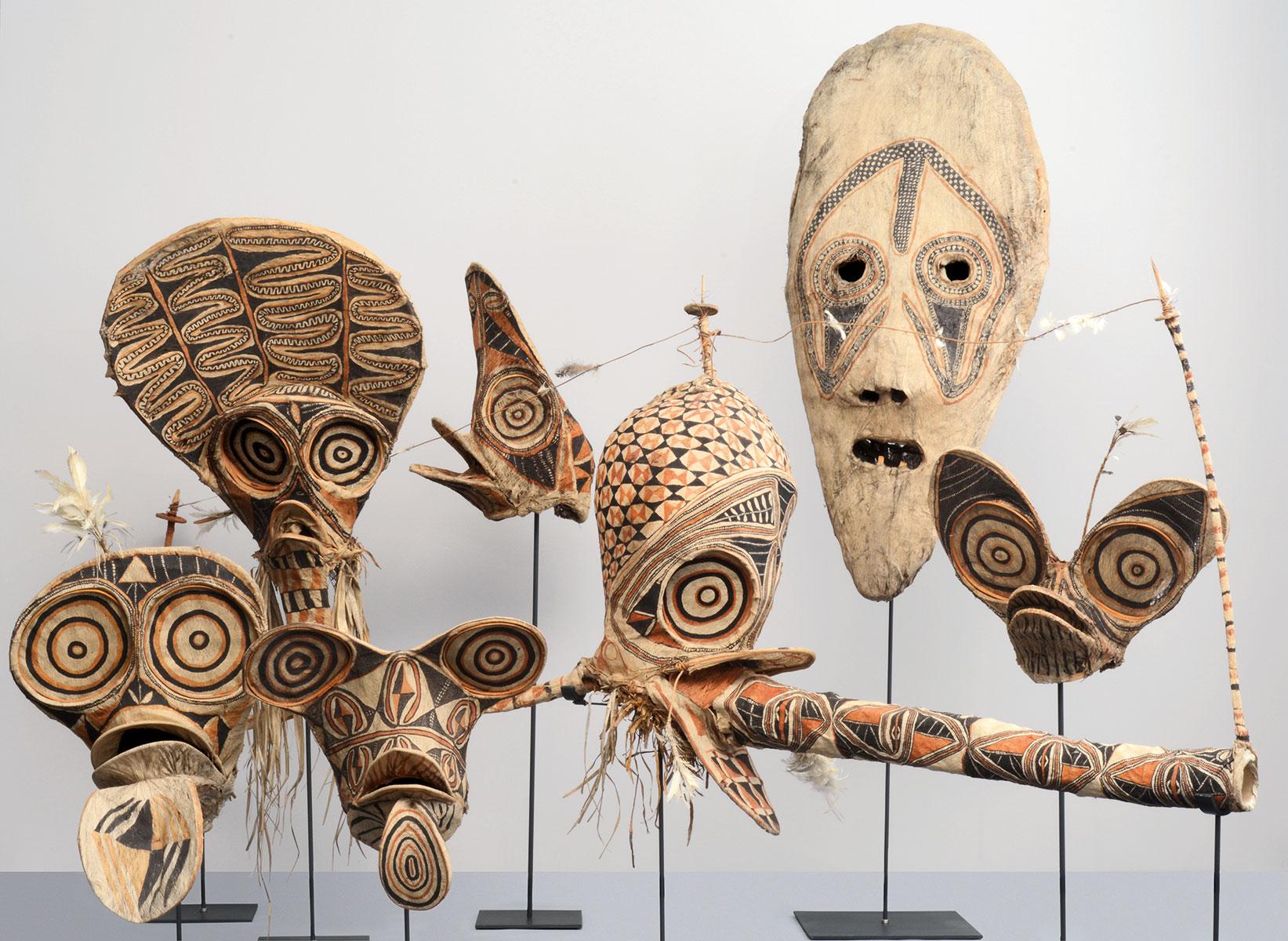 Tanzmasken aus Neu-Britannien, vor 1913; Grassi Museum für Völkerkunde zu Leipzig