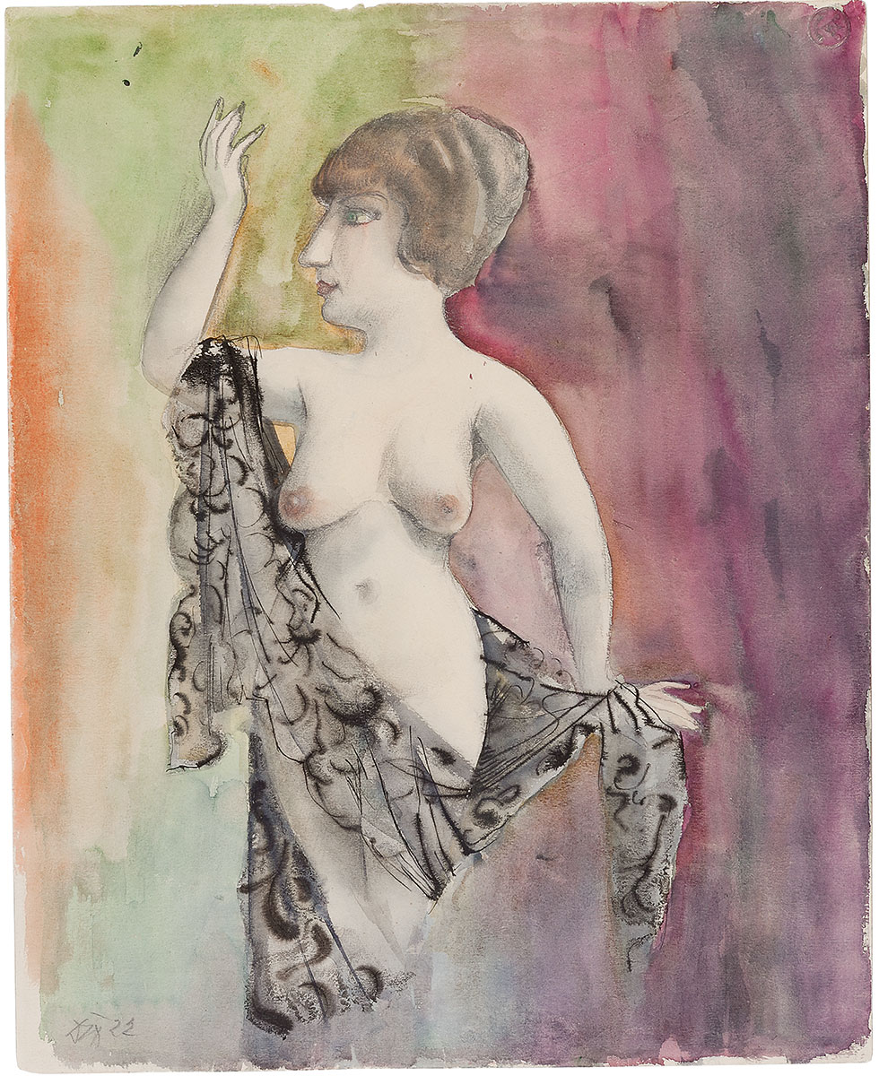 Otto Dix, Weiblicher Akt/Frau mit Schleier, 1922, 48×38,5 cm; Kunsthalle Mannheim