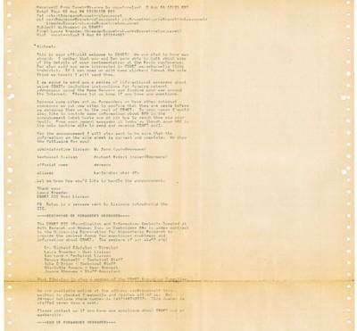 Der Originalausdruck der ersten E-Mail Deutschlands vom 3. August 1984, 90×30 cm; Stadtarchiv Karlsruhe