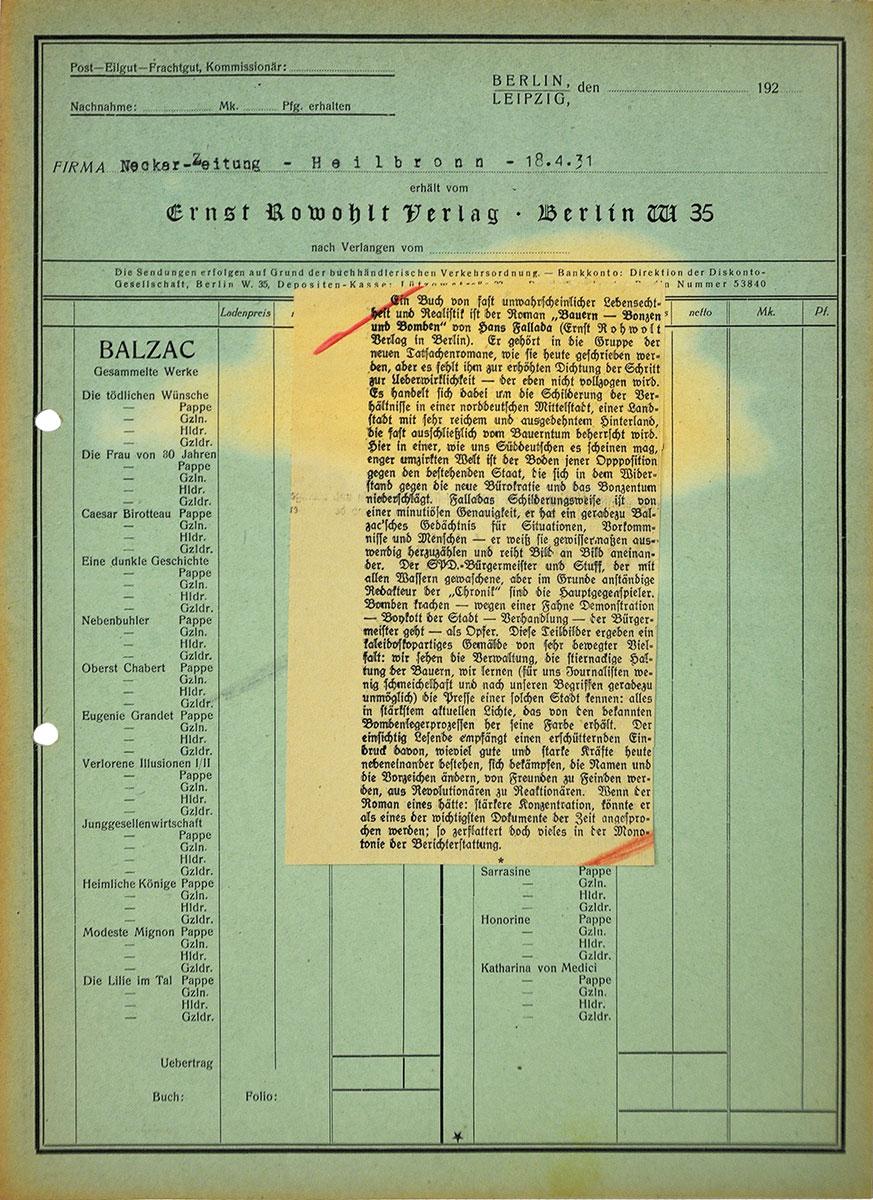 """Rezension der Heilbronner Neckar-Zeitung zu Hans Falladas Roman """"Bauern, Bonzen und Bomben"""" von 1931 aus dem Nachlass Falladas; Hans-Fallada-Archiv, Neubrandenburg"""