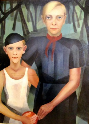 Kate Diehn-Bitt, Selbstbildnis mit Sohn, um 1930, 99×74 cm; Kunsthalle Rostock