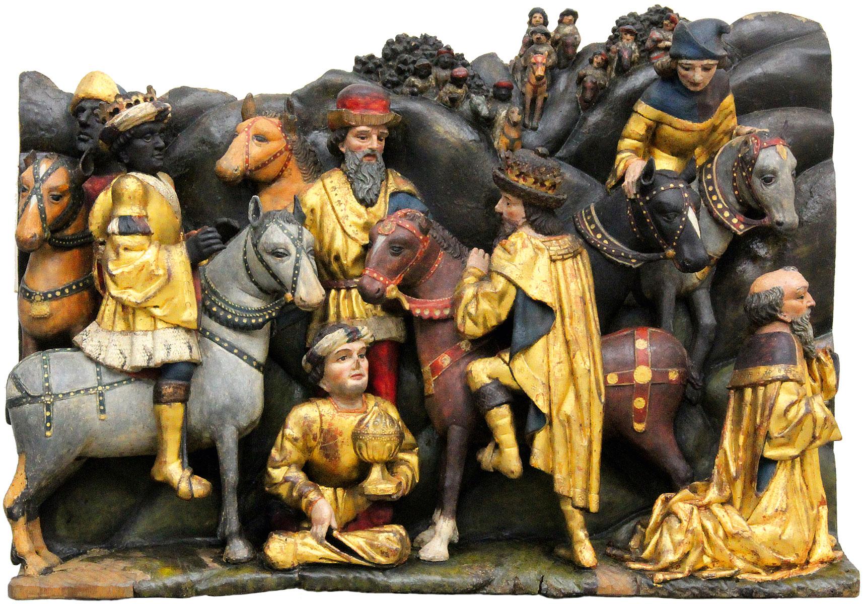 Relief der Heiligen Drei Könige, um 1500, 50×70×18 cm; St. Annen-Museum, Lübeck