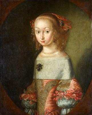 Unbekannter Maler, Eine Tochter des Herzogs August von Sachsen-Weißenfels (Prinzessin Katharina von Sachsen-Weißenfels? (1655–1663)), um 1665, 68×55 cm; Museum Schloss Neu-Augustusburg Weißenfels