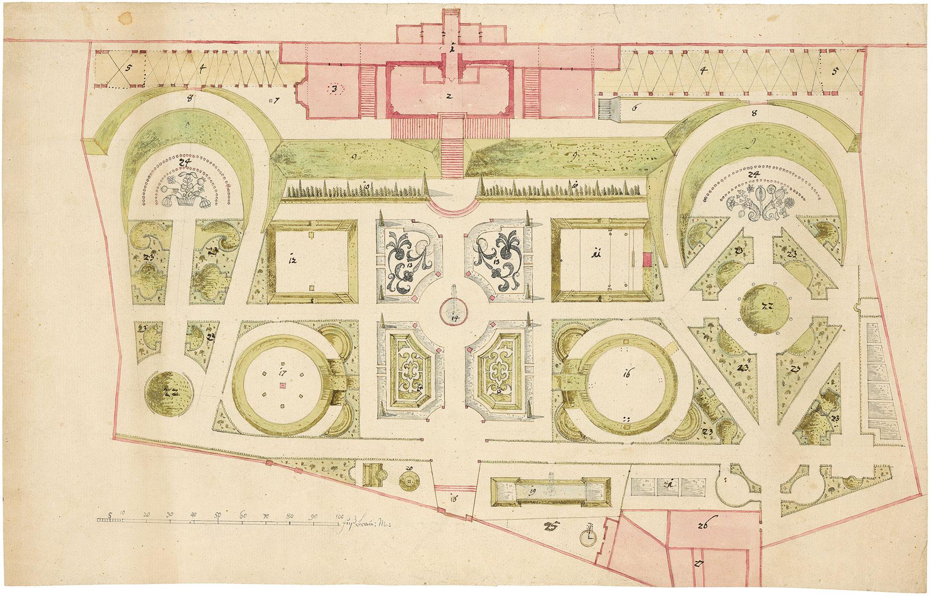 Planausschnitt für Gartenanlagen und ein Lustschloss, 26,5×42 cm; Staatliches Museum Schwerin © Staatliches Museum Schwerin