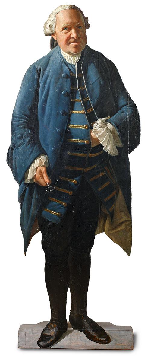 Georg David Matthieu, Aufstellfigur des Kammerdieners Johann Völler, 154×50 cm; Schloss Ludwigslust © Staatliches Museum Schwerin / Foto: Gabriele Bröcker