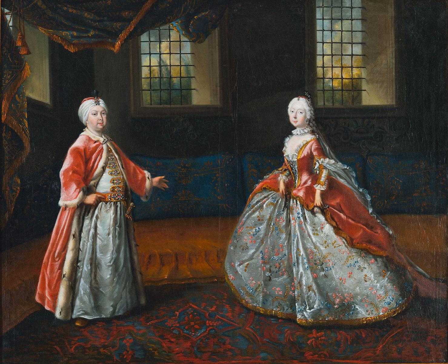 J.F. Löber, Theaterszene mit Friedrich III. und Luise Dorothea von Sachsen-Gotha-Altenburg, um 1751 © Stiftung Schloss Friedenstein Gotha