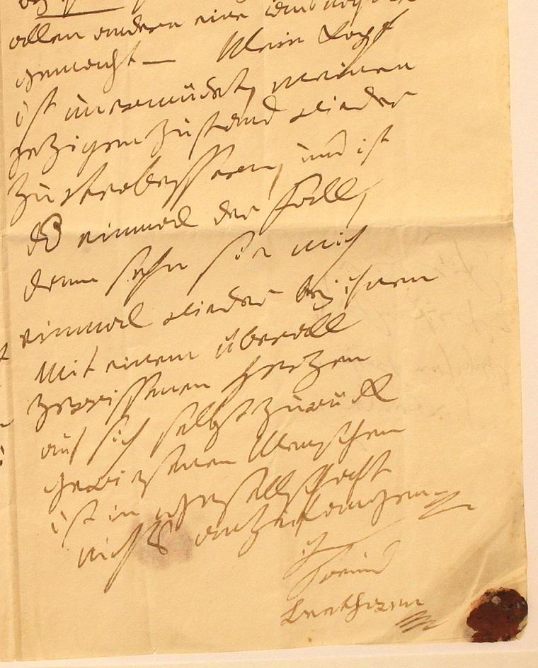 Detail des Briefes, den Ludwig van Beethoven 1813 für Maria Eleonora Gräfin Fuchs verfasste © Beethoven-Haus Bonn