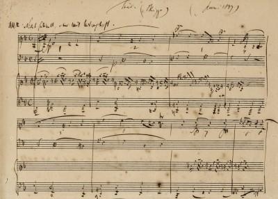 Robert Schumann, Klaviertrio d-moll op. 63, Ausschnitt der autographen Erstfassung, 1847