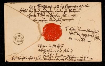 Notizen von Eichendorff auf einem Umschlag (Rückseite), 1834 © Freies Deutsches Hochstift