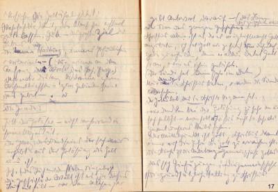 """Tagebuch von Marianne Hoppe, 1945, das Tagebuch dokumentiert ihre Beschäftigung mit dem Gedankengut des Johannes-Evangeliums, Eintrag links u.a.: """"Güte – das Ziel des Lebens"""""""
