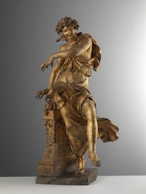 Pierre Étienne Monnot, Bacchantin, zwischen 1692 und 1714 in Rom entstanden, vergoldete Terrakotta, Höhe 66 cm, Hessisches Landesmuseum Kassel © Trinity Fine Art LTD, Foto: Andrea Bacchi