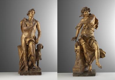 Pierre Étienne Monnot, Paris und Bacchantin, zwischen 1692 und 1714 in Rom entstanden, vergoldete Terrakotten, Höhe 63 und 66 cm