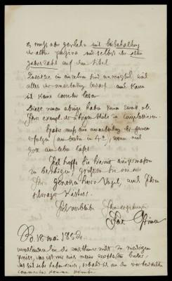 Jacob Grimm an die Dieterich'sche Buchhandlung (Rückseite), Berlin, 18.5.1852; Grimm-Sammlung der Stadt Kassel © Universitätsbibliothek Kassel