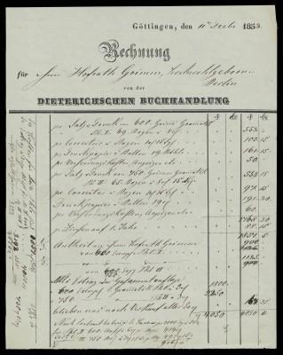 Rechnung der Dieterich'schen Buchhandlung an Jacob Grimm, 1.12.1852;  Grimm-Sammlung der Stadt Kassel © Universitätsbibliothek Kassel
