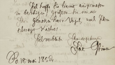 Jacob Grimm an die Dieterich'sche Buchhandlung, Berlin, 18.05.1852; Grimm-Sammlung der Stadt Kassel © Universitätsbibliothek Kassel