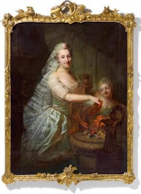 """Georg David Matthieu, """"Bildnis der Magdalena Charlotte Stegemann geb. Olthoff als Vestalin, mit ihrer Tochter Anna Magdalene"""", 1762/63, 152 x 115 cm"""