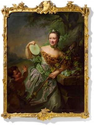 """Georg David Matthieu, """"Bildnis der Anna Regina Olthoff als Bacchantin"""", 1762/63, 152 x 115 cm"""