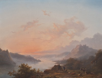 Hendrik Lot, Morgendämmerung am Rhein, 1850/60er, 27,8 x 50,3 cm; © Foto: collectie Ursula und Jef Rademakers
