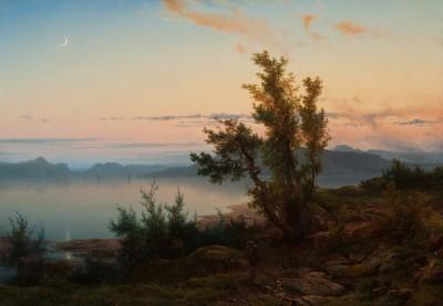 Cornelis Lieste, Landschaft mit Mondsichel, 1850er Jahre, 54,8 x 78,5 cm © Foto: collectie Ursula und Jef Rademakers