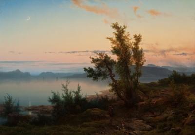 Cornelis Lieste, Landschaft mit Mondsichel, 1850er Jahre, 54,8 x 78,5 cm © Foto: collectie Ursula und Jef