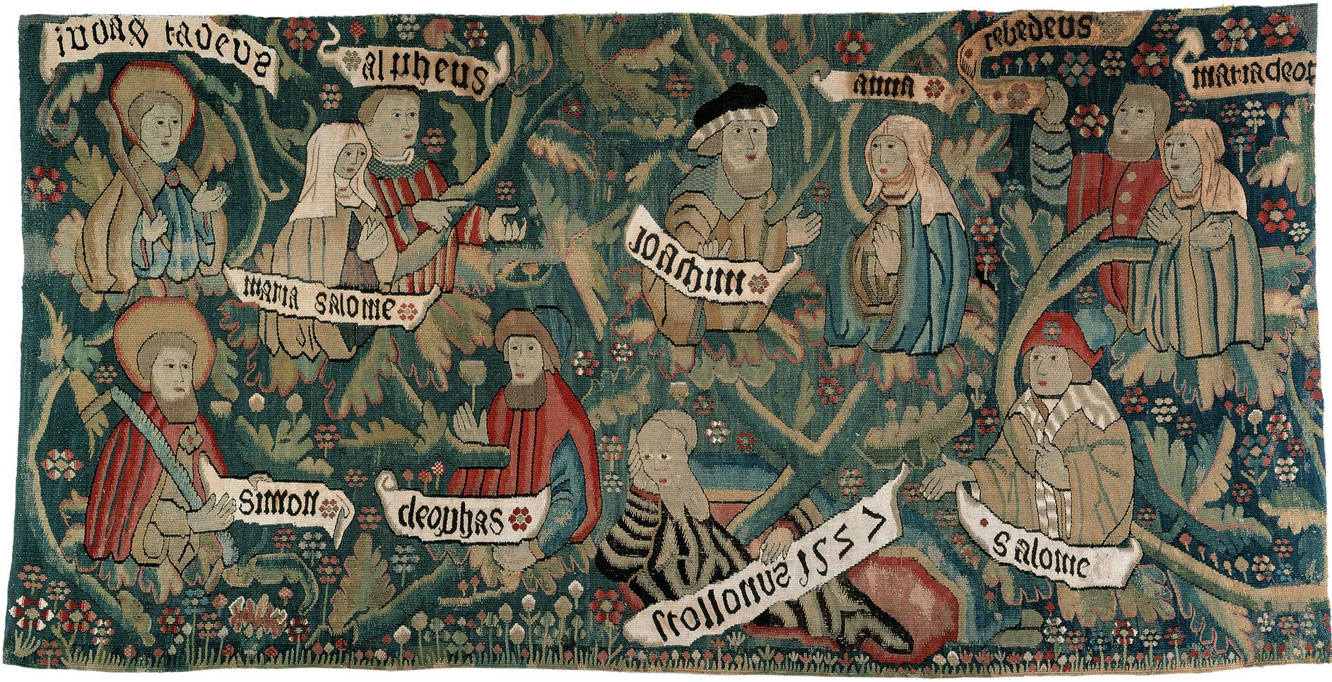 Bildteppich mit der Darstellung der Heiligen Sippe, Fragment, 1527, 61×118 cm; Domschatz- und Diözesanmuseum Eichstätt © Kunsthandlung Rudigier / Domschatz- und Diözesanmuseum Eichstätt