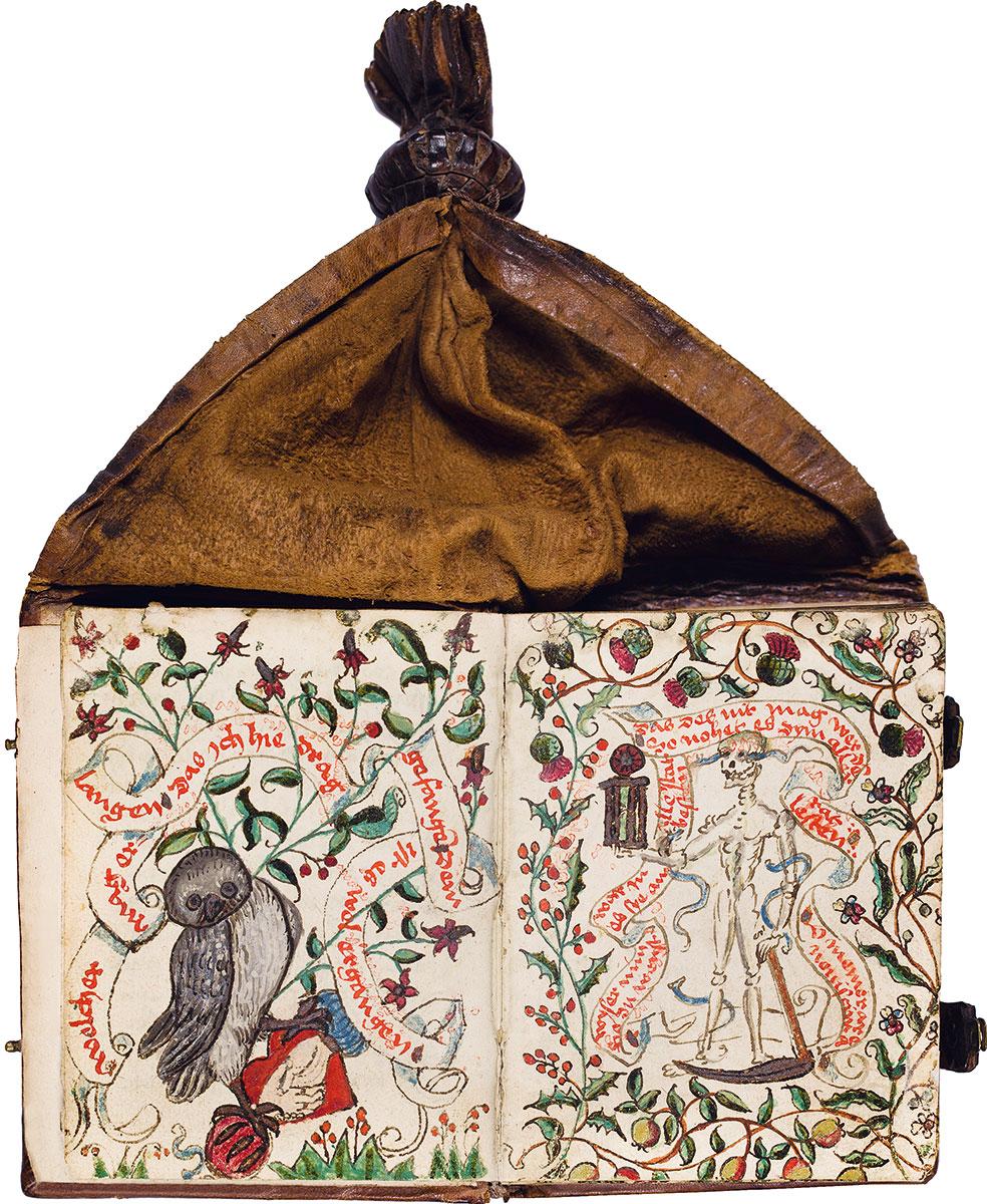 Aufgeschlagenes Beutelbuch der Katharina Roeder von Rodeck © Antiquariat Dr. Jörn Günther, Basel