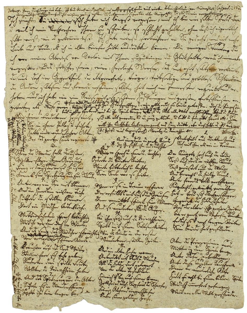 Joseph von Eichendorff, Entwurf zu einem Brief an Achim von Arnim, Jahreswende 1810/11; Freies Hochstift Frankfurt a. M. © Freies Hochstift Frankfurt a. M.