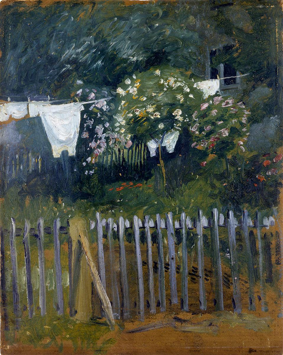 August Macke, Wäsche im Garten in Kandern, 1907, 52×41 cm; Museum für Neue Kunst, Freiburg © Städtische Museen Freiburg / Foto: Hans-Peter Vieser