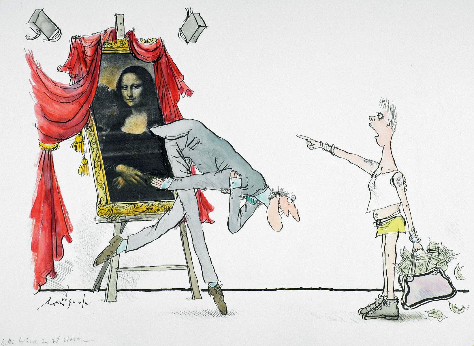 Ronald Searle, Better to have an art advisor –, 2003, 32,4×44,6 cm; Wilhelm Busch – Deutsches Museum für Karikatur und Zeichenkunst, Hannover © The Ronald Searle Cultural Trust / Archiv der Wilhelm-Busch-Gesellschaft e. V.