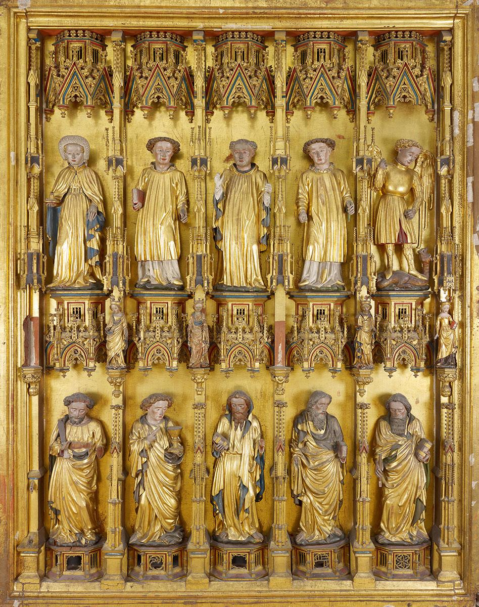 Goldene Tafel aus St. Michaelis zu Lüneburg, Innenseite des linken Innenflügels, um 1430, 231×184 cm; Landesmuseum Hannover © Landesmuseum Hannover / Foto: Projekt Goldene Tafel
