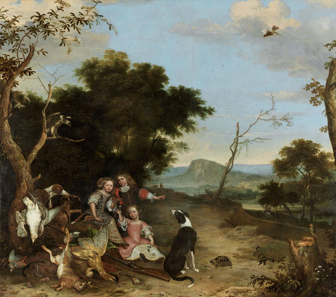 Melchior d'Hondecoeter, Bildnis von drei Kindern in einer Landschaft mit Jagdbeute, um 1670, 341,5×386 cm; Alte Pinakothek, München © Bayerische Staatsgemäldesammlungen, Alte Pinakothek, München