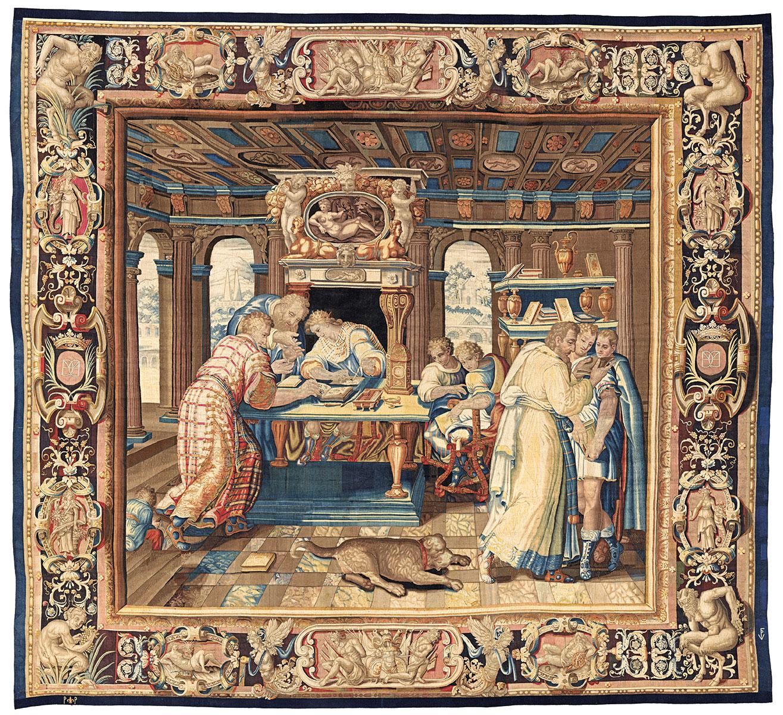Tapisserie-Manufaktur van den Planken-de Comans, Die Studien des Königs 1610–1627, 460×510 cm; Dommuseum Hildesheim © Dommuseum Hildesheim / Foto: Stephan Kube