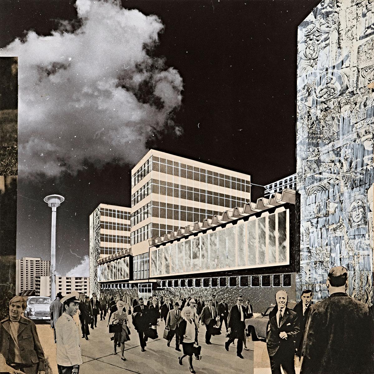 Dieter Urbach, Entwurf für das Bürogebäude des Allgemeinen Deutschen Nachrichtendienstes, um 1968, 70×49 cm; Berlinische Galerie, Berlin © Dieter Urbach / Berlinische Galerie / Repro: Kai-Annett Becker