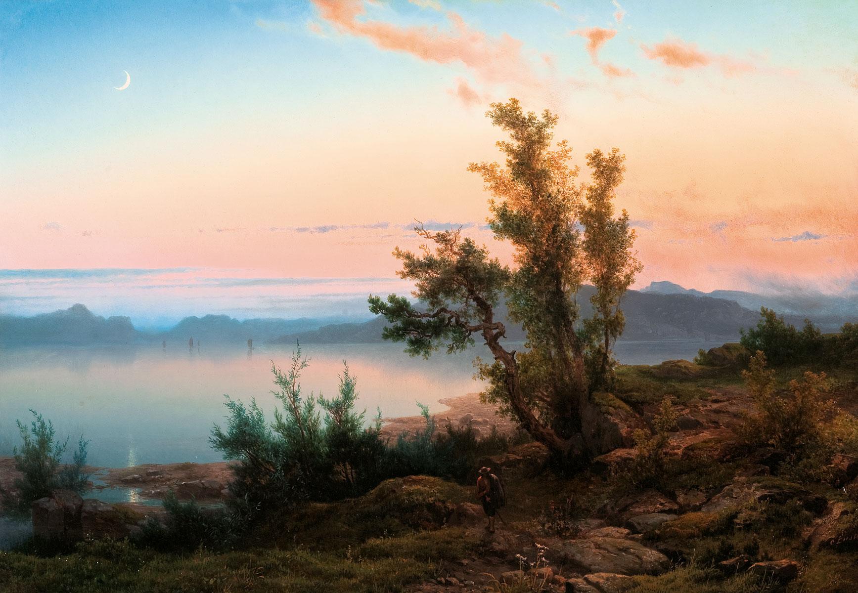 Cornelis Lieste, Abendlandschaft mit Bergsee und Mondsichel, ca. 1853–1861, 54,8×78,5 cm; B.C. Koekkoek-Haus Kleve © B. C. Koekkoek-Haus Kleve / Foto: Erno Kiljan