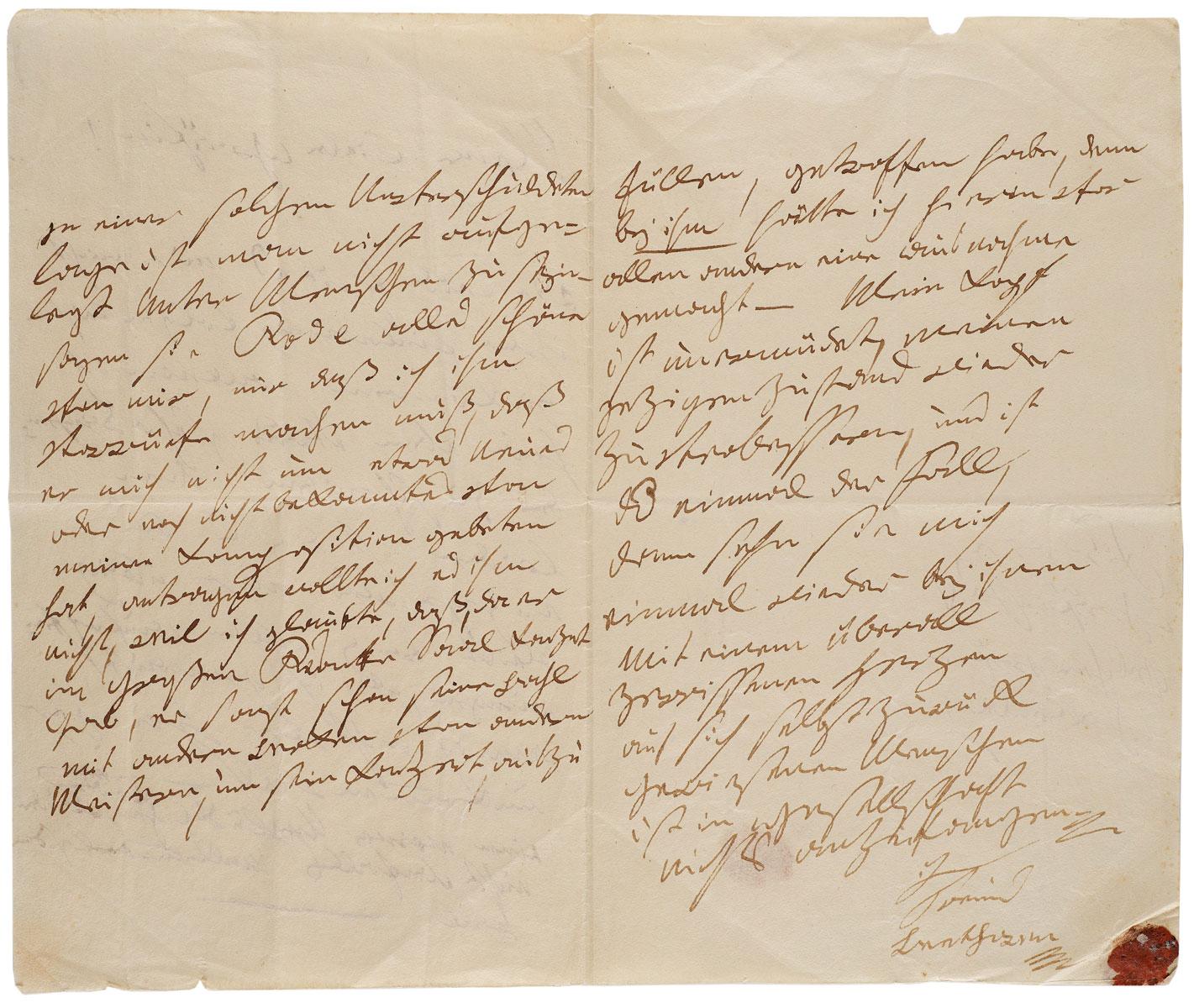 Ludwig van Beethoven, Brief an Maria Eleonora Gräfin Fuchs, Wien, Januar 1813, 21×12,3 cm; Beethoven-Haus Bonn © Beethoven-Haus Bonn