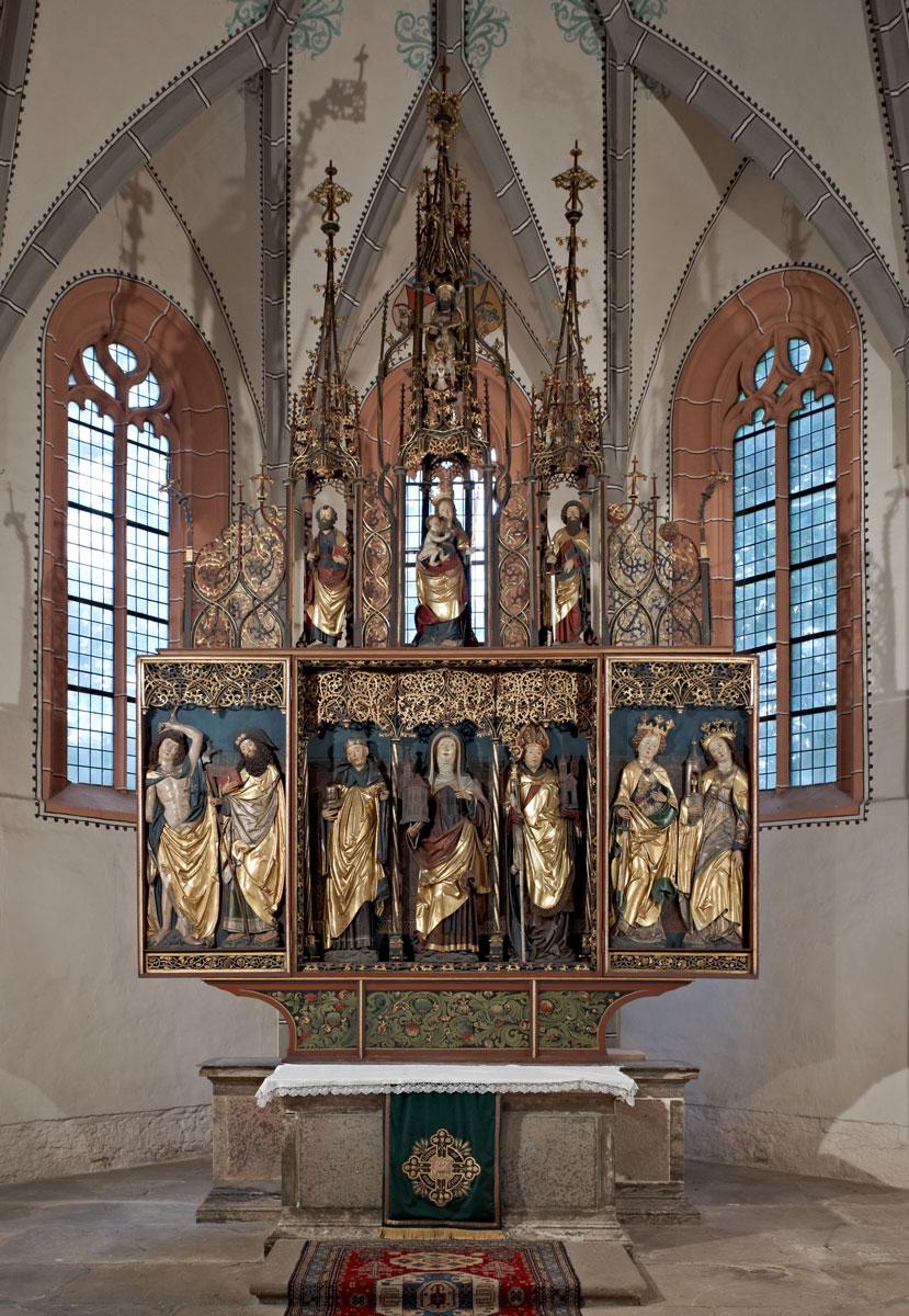 Spätgotischer Hochaltar, um 1510/20, Höhe ca. 7 m; Gertrudiskirche Saalfeld-Graba © TLDA / Foto: Werner Streitberger
