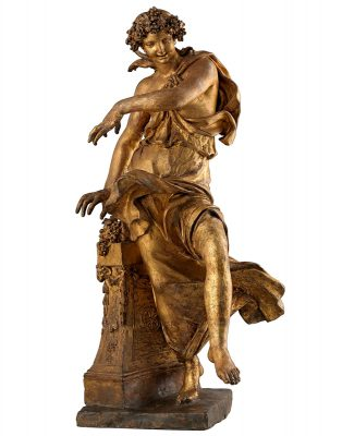 Pierre Étienne Monnot, Bacchantin, zw. 1692 und 1714 in Rom entstanden, vergoldetes Terrakottamodell, Höhe 66 cm; Museumslandschaft Hessen Kassel © Trinity Fine Art LTD / Foto: Andrea Bacchi