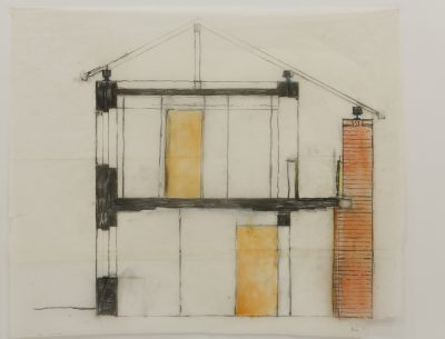 Heinz Bienefeld, Entwurf für das Haus Heinz-Manke in Köln (1984), Querschnitt Straßentrakt, 72 x 86,5 cm; Deutsches Architekturmuseum Frankfurt a. M.; © Foto: Uwe Dettmer, 2016