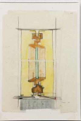 Heinz Bienefeld, Scharnier, Ansichtsskizze und Schnitt für Haus Helpap (1987), Kohle, Farbkreide, Filzstift, Lackstift, auf Transparentpapier, 87 x 65 cm; Deutsches Architekturmuseum Frankfurt a. M.; © Foto: Uwe Dettmar, 2016