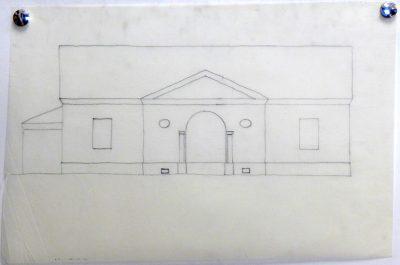 Heinz Bienefeld, Haus Nagel (1969), Fassade zur Straße, Kohle auf Transparentpapier; Deutsches Architekturmuseum Frankfurt a. M.; © DAM